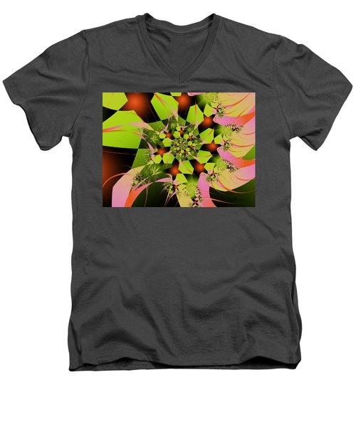 Men's V-Neck T-Shirt featuring the digital art Loud Bouquet by Elizabeth McTaggart