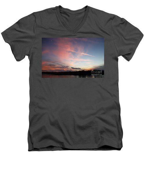 Men's V-Neck T-Shirt featuring the photograph Louisiana Sunset In Lacombe by Luana K Perez