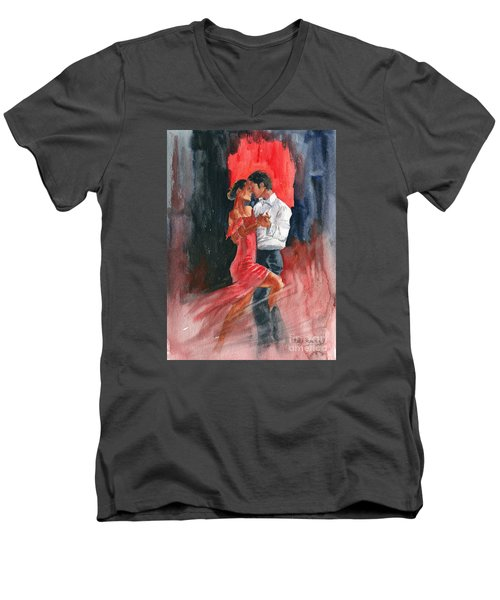 Love And Tango Men's V-Neck T-Shirt by Melly Terpening