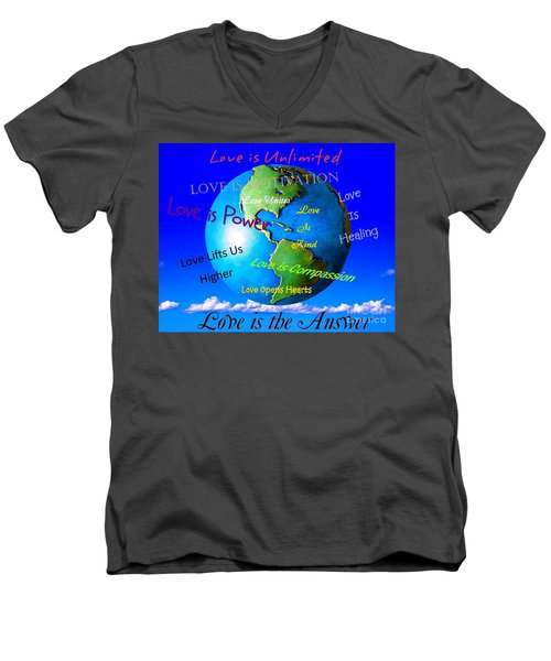 Men's V-Neck T-Shirt featuring the digital art Love Is. . . . by Bobbee Rickard