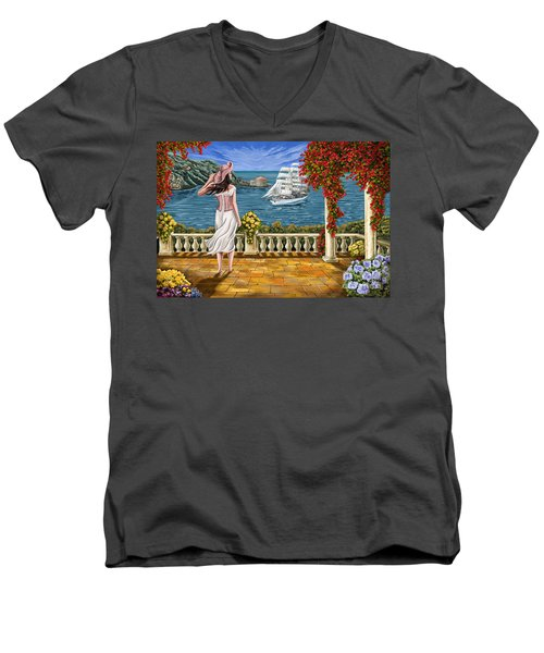 Men's V-Neck T-Shirt featuring the painting Love Is Coming Home by Tim Gilliland