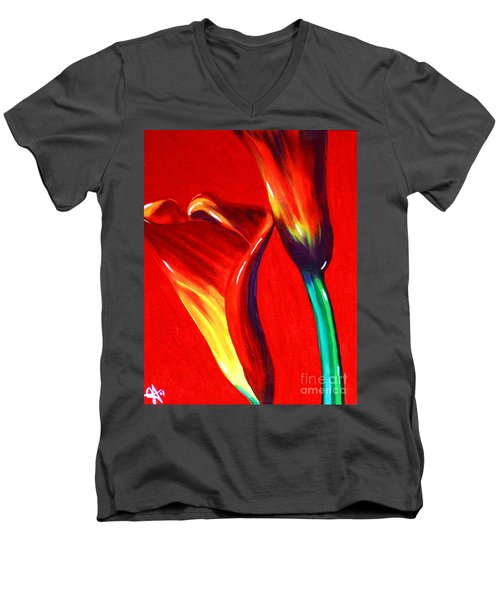 Love Lilies Men's V-Neck T-Shirt by Jackie Carpenter