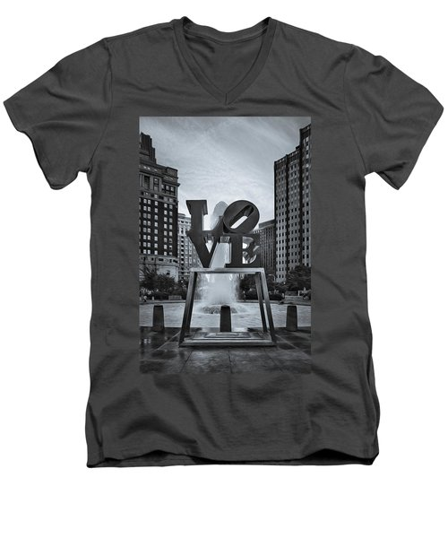 Love Park Bw Men's V-Neck T-Shirt by Susan Candelario