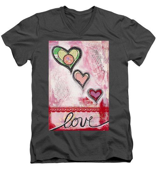 Men's V-Neck T-Shirt featuring the mixed media Love  by Stanka Vukelic