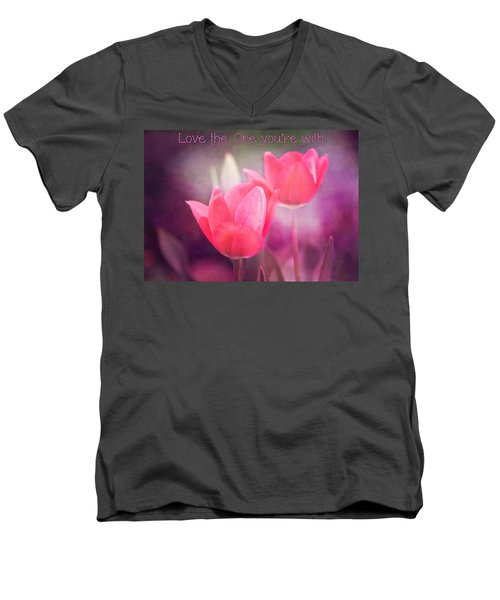Men's V-Neck T-Shirt featuring the photograph Love The One You're With by Trina  Ansel