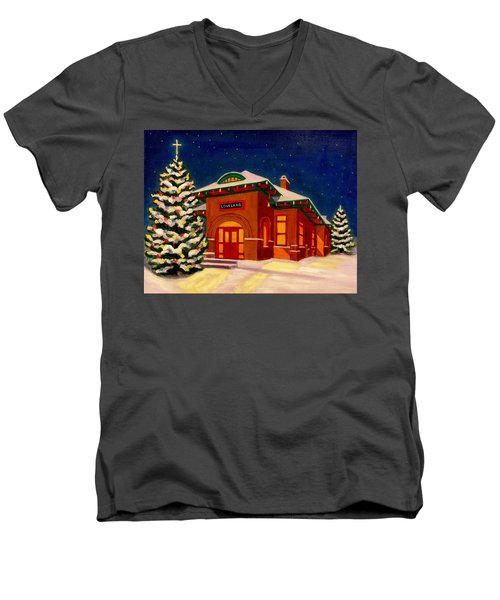 Loveland Depot At Christmas Men's V-Neck T-Shirt