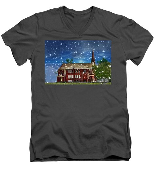 Men's V-Neck T-Shirt featuring the photograph Lovely Country Church by Liane Wright