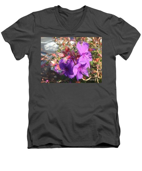 Men's V-Neck T-Shirt featuring the photograph Lovely Purple Flower by Jasna Gopic