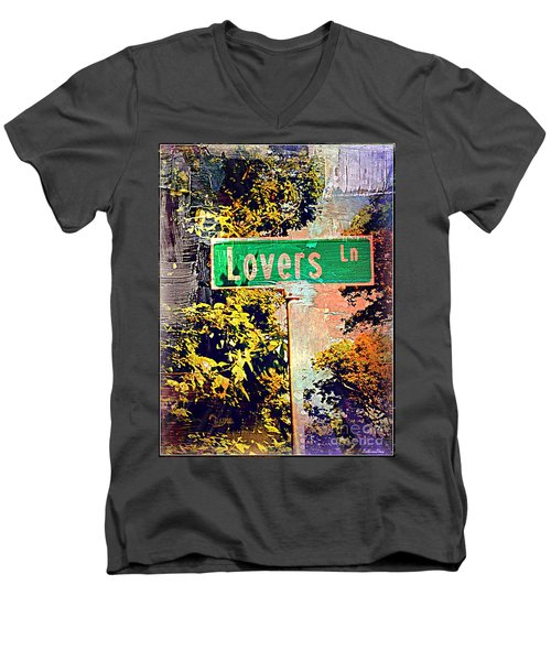 Lovers Lane Men's V-Neck T-Shirt by Beth Saffer