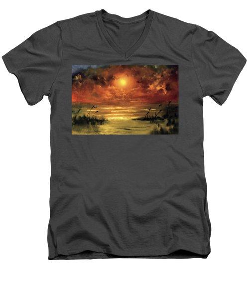 Lovers Sunset Men's V-Neck T-Shirt