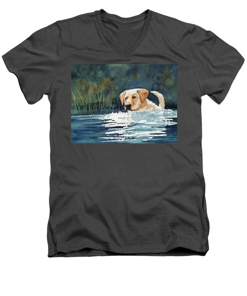Loves The Water Men's V-Neck T-Shirt by Marilyn Jacobson
