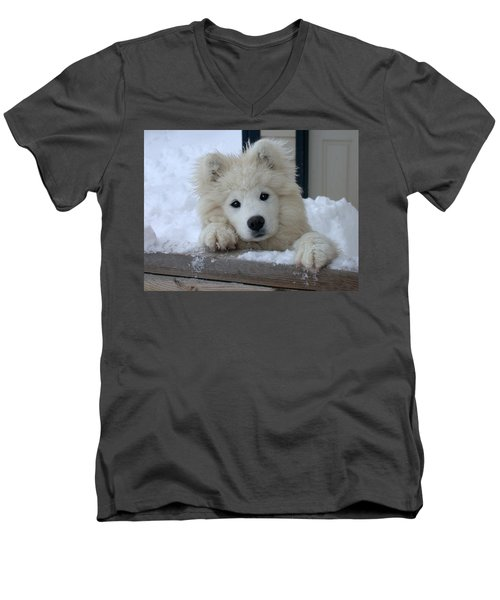 Men's V-Neck T-Shirt featuring the photograph Loving The Snow by Shane Bechler