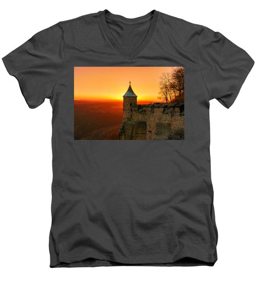 Low Sun On The Fortress Koenigstein Men's V-Neck T-Shirt