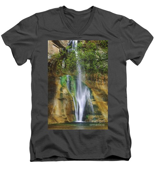 Men's V-Neck T-Shirt featuring the photograph Lower Calf Creek Falls Escalante Grand Staircase National Monument Utah by Dave Welling