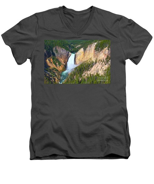 Men's V-Neck T-Shirt featuring the photograph Lower Falls Yellowstone 2 by Teresa Zieba