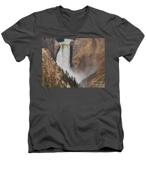 Men's V-Neck T-Shirt featuring the photograph Lower Falls - Yellowstone by Mary Carol Story