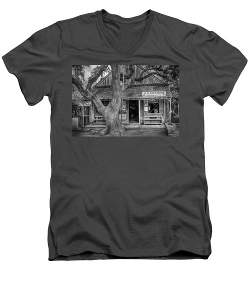Luckenbach 2 Black And White Men's V-Neck T-Shirt