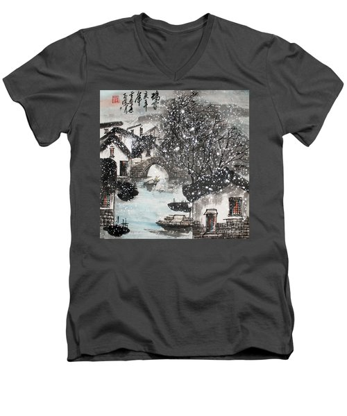 Men's V-Neck T-Shirt featuring the painting Lucky Snow  by Yufeng Wang
