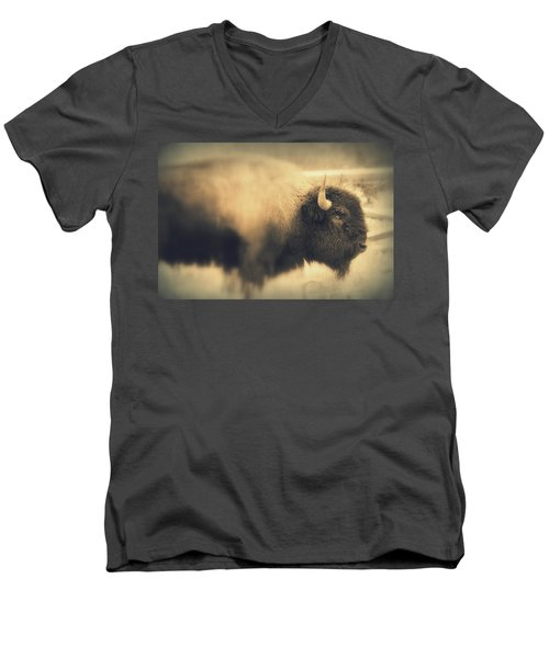 Men's V-Neck T-Shirt featuring the photograph Lucky Yellowstone Buffalo by Lynn Sprowl