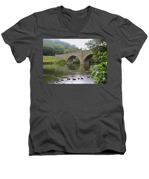 Men's V-Neck T-Shirt featuring the photograph Ludlow Bridge by John Williams
