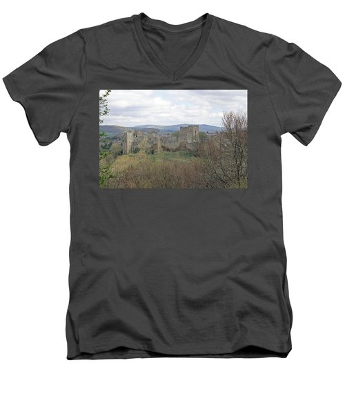 Ludlow Castle Men's V-Neck T-Shirt by Tony Murtagh