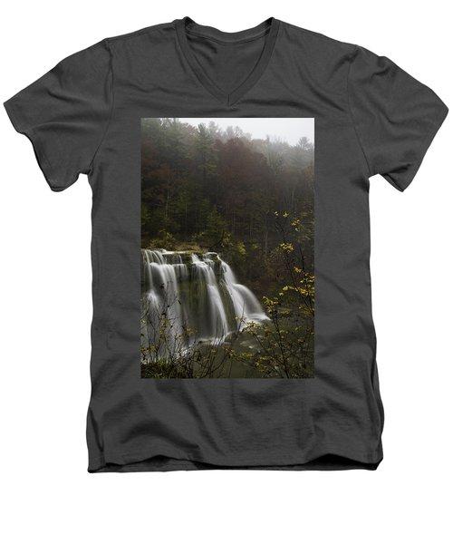 Ludlowville Falls In Autumn I Men's V-Neck T-Shirt