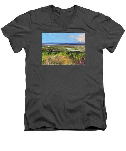 Lupine Of Fort Hill Men's V-Neck T-Shirt by Michael Helfen