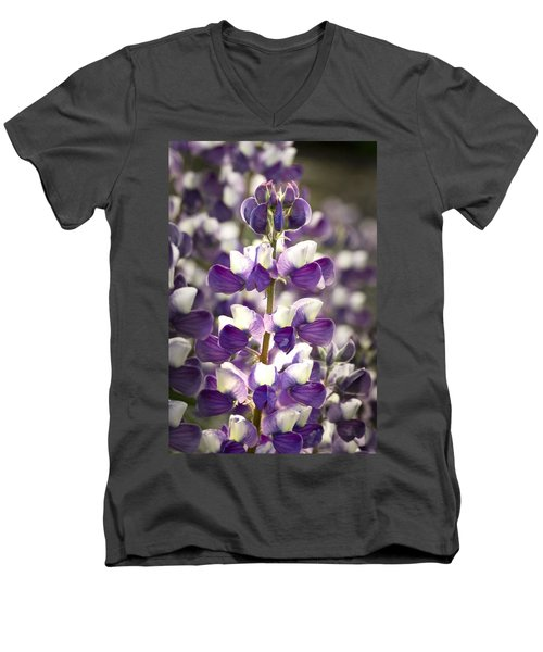 Men's V-Neck T-Shirt featuring the photograph Lupine Wildflowers by Sonya Lang