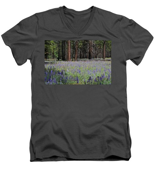 Men's V-Neck T-Shirt featuring the photograph Lupines In Yosemite Valley by Lynn Bauer