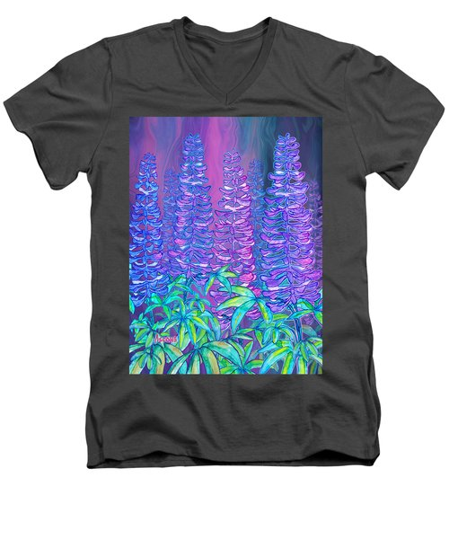 Men's V-Neck T-Shirt featuring the mixed media Lupines by Teresa Ascone