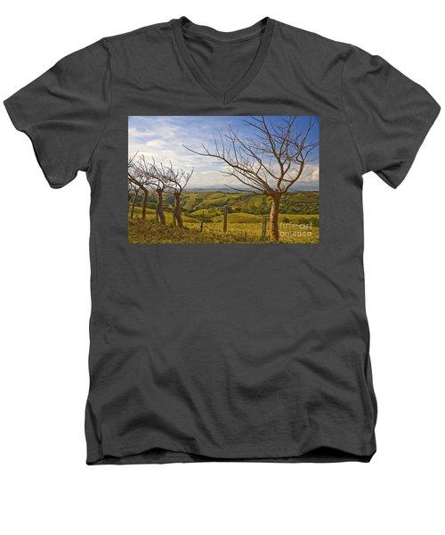 Lush Land Leafless Trees 2 Men's V-Neck T-Shirt