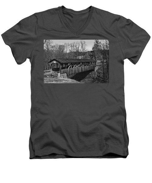 Luther's Mill Covered Bridge Black And White Men's V-Neck T-Shirt