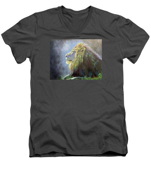 Lying In The Moonlight, Lion Men's V-Neck T-Shirt