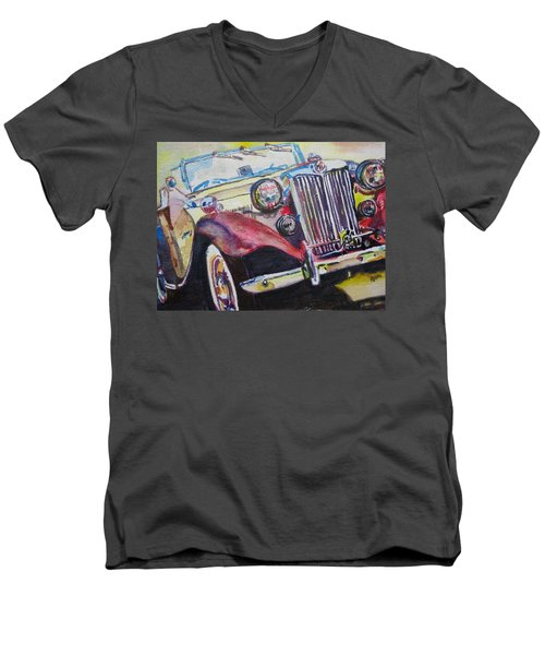 Men's V-Neck T-Shirt featuring the painting M G Car  by Anna Ruzsan
