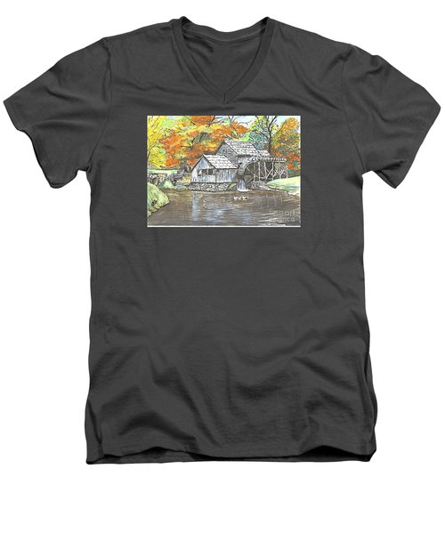 Men's V-Neck T-Shirt featuring the painting Mabry Grist Mill In Virginia Usa by Carol Wisniewski