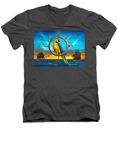 Macaw Pirate Parrot Men's V-Neck T-Shirt by Glenn Holbrook