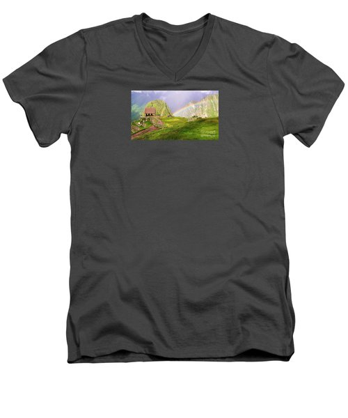 Machu Picchu Rainbow Men's V-Neck T-Shirt