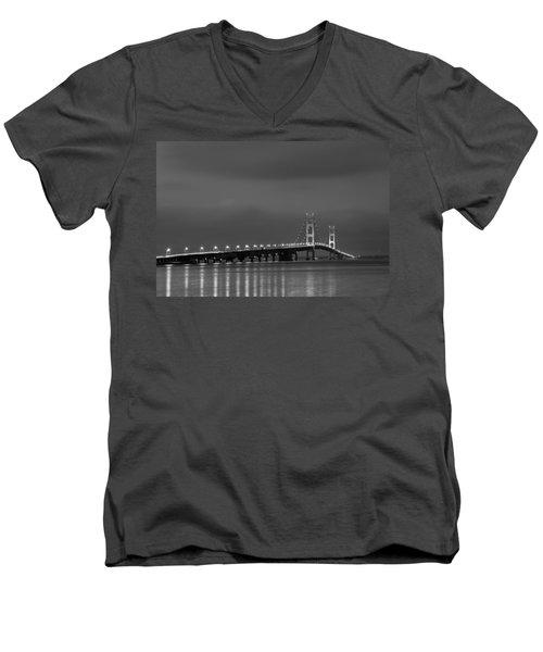 Mackinac Bridge Black And White Men's V-Neck T-Shirt