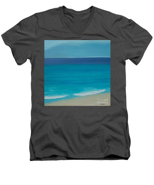 Men's V-Neck T-Shirt featuring the painting Madagascar by Mini Arora