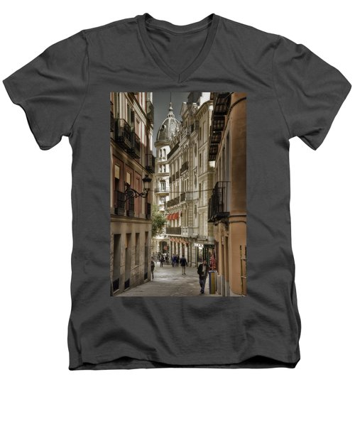 Madrid Streets Men's V-Neck T-Shirt by Joan Carroll
