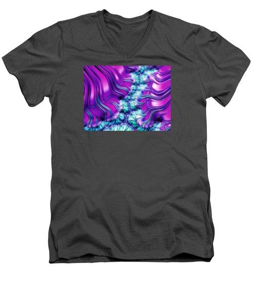Magenta And Aqua Soft Fractal Abstract Men's V-Neck T-Shirt