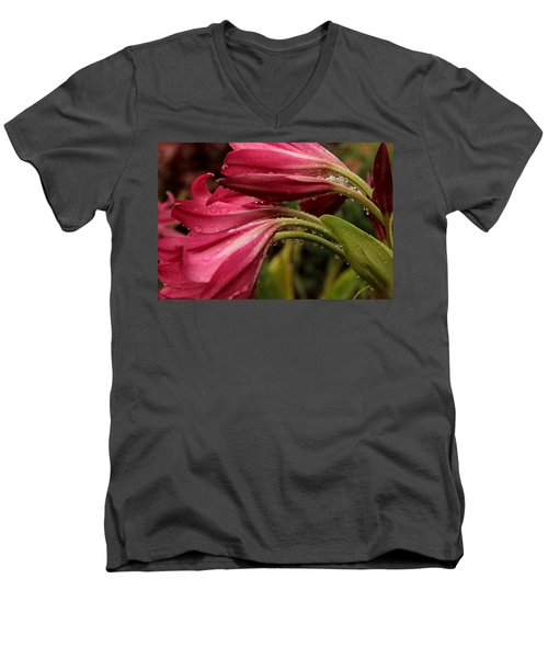 Men's V-Neck T-Shirt featuring the photograph Magenta Rain by Greg Allore