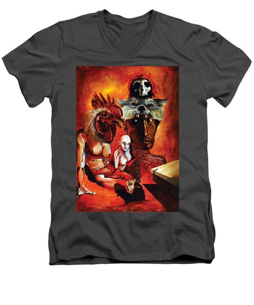 Men's V-Neck T-Shirt featuring the painting Magic Poultry by Otto Rapp