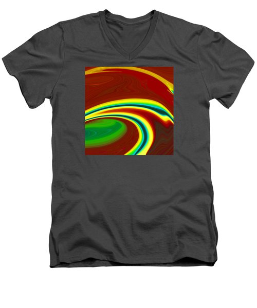 Men's V-Neck T-Shirt featuring the painting Magma  C2014 by Paul Ashby