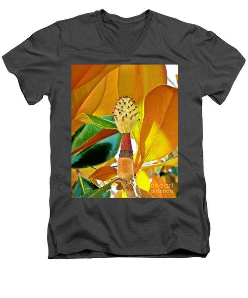 Men's V-Neck T-Shirt featuring the photograph Magnolia Flower by Olga Hamilton
