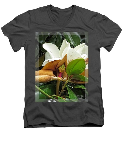 Men's V-Neck T-Shirt featuring the photograph Magnolia Flowers - Flower Of Perseverance by Ella Kaye Dickey