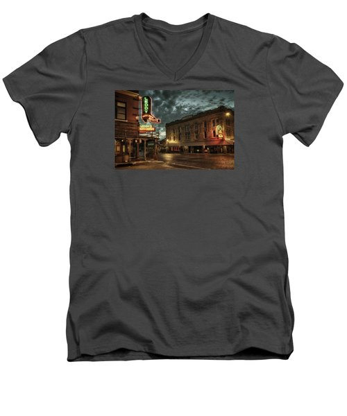 Main And Exchange Men's V-Neck T-Shirt by Joan Carroll