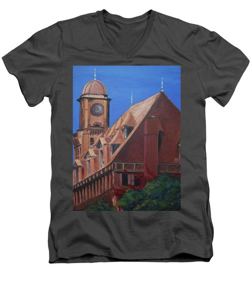 Men's V-Neck T-Shirt featuring the painting Main Street Station by Donna Tuten