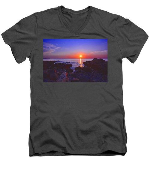 Maine Coast Sunrise Men's V-Neck T-Shirt