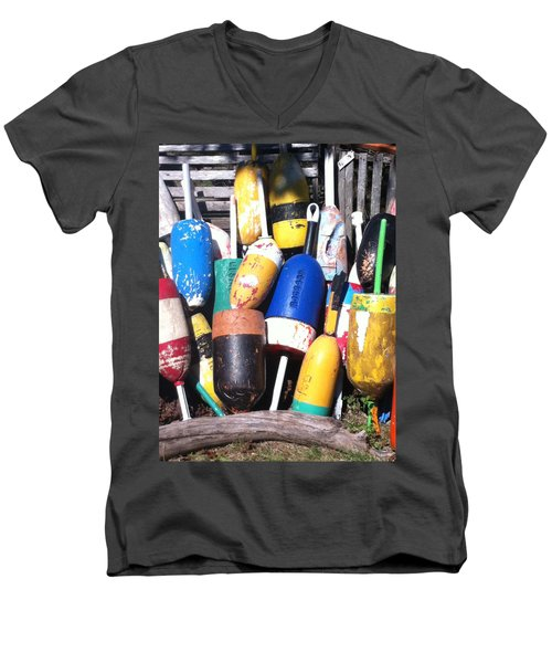 Men's V-Neck T-Shirt featuring the photograph Maine Lobster Buoys by Denyse Duhaime
